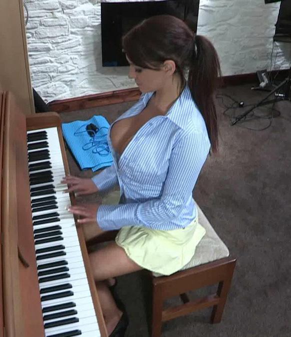 Vickie Playing the Piano for Downblouse Loving
