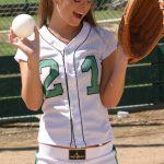 Kari Sweets playing baseball