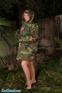 Army girl Kari Sweets poses in her camouflaged coat